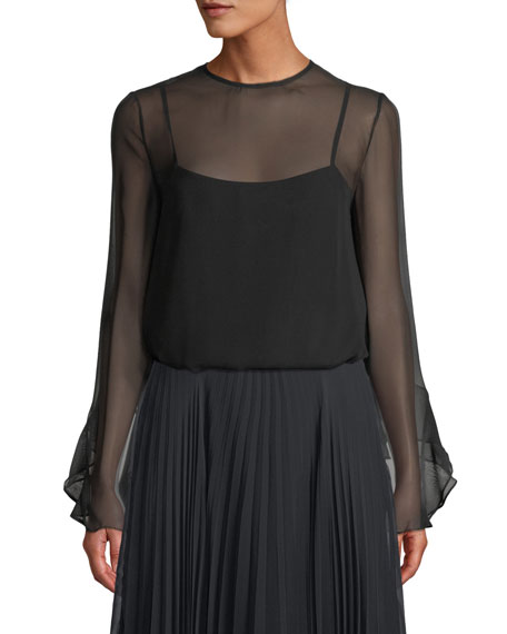 Camilla And Marc WREN LONG-SLEEVE SHEER TOP