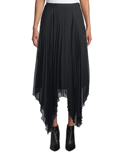 Lacee Pleated Handkerchief Midi Skirt