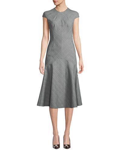 Ackley Harvey Check Cap-Sleeve Midi Dress