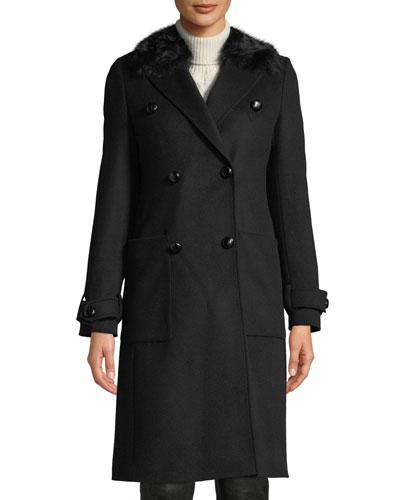 Delmere 2.0 Pea Coat w/ Removable Fur