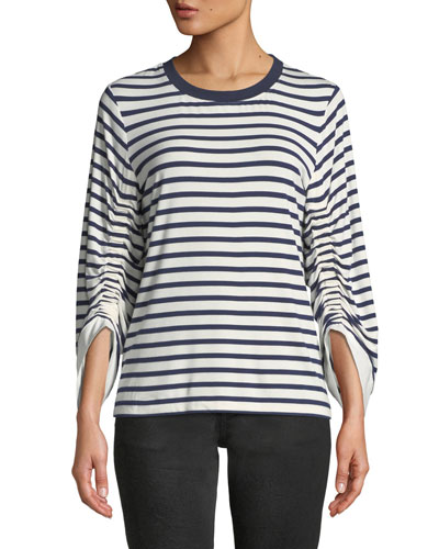 Larissa Breton-Stripe Cinch-Sleeve Top