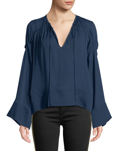 Anatolia Flare-Sleeve Ruched Silk Top
