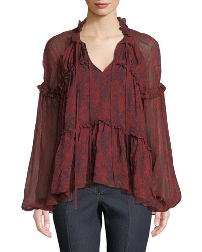 Gisele Floral Ruffle Blouson-Sleeve Top