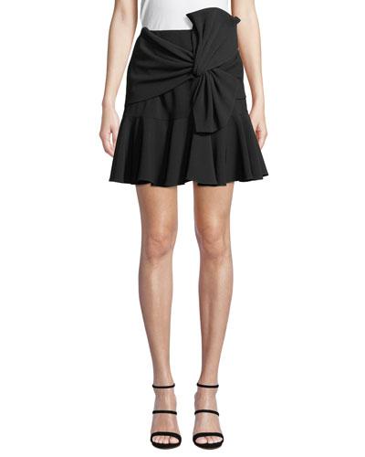 Mara Crepe Flounce Mini Skirt w/ Bow Detail