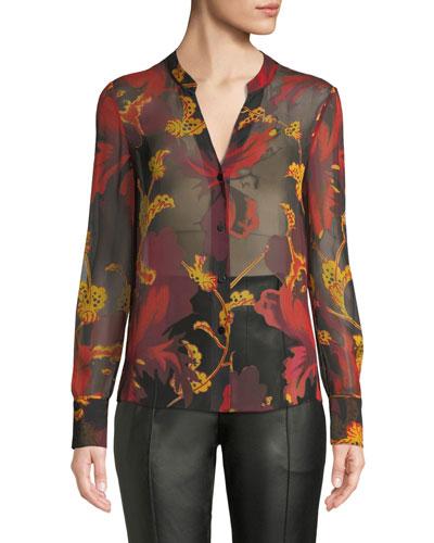 Karen Sheer Silk Floral Button-Down Top