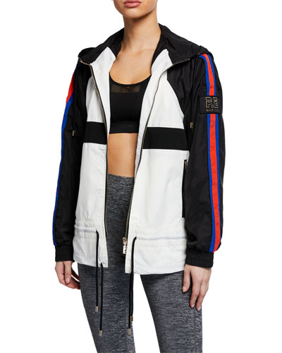 Block Out Side-Stripe Hooded Track Jacket