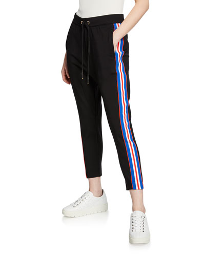 Court Run Ankle-Length Ponte Pants w/ Side Stripes