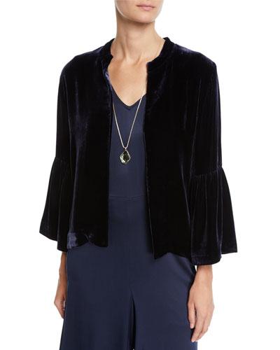 Velvet 3/4-Sleeve Open-Front Short Jacket