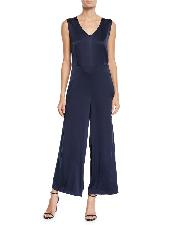 Eileen Fisher Silk Charmeuse Sleeveless V-Neck Jumpsuit