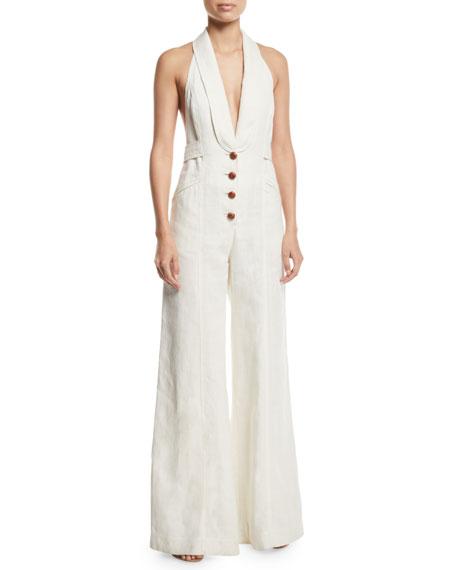 Corsage Tailored Wide-Leg Linen Jumpsuit, White