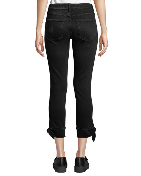Tie-Ankle Cropped Mid-Rise Skinny Jeans