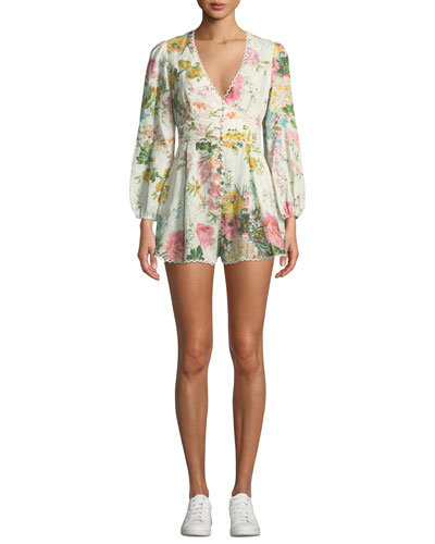 Heathers Plunging Floral Long-Sleeve Linen Romper