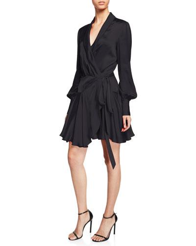 Flouncy Long-Sleeve Wrap Mini Dress