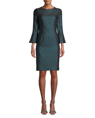 Metallic Jacquard Bell-Sleeve Dress
