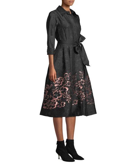 ae89c09a9d Teri Jon By Rickie Freeman Floral Jacquard Self-Tie Shirt Dress In Black