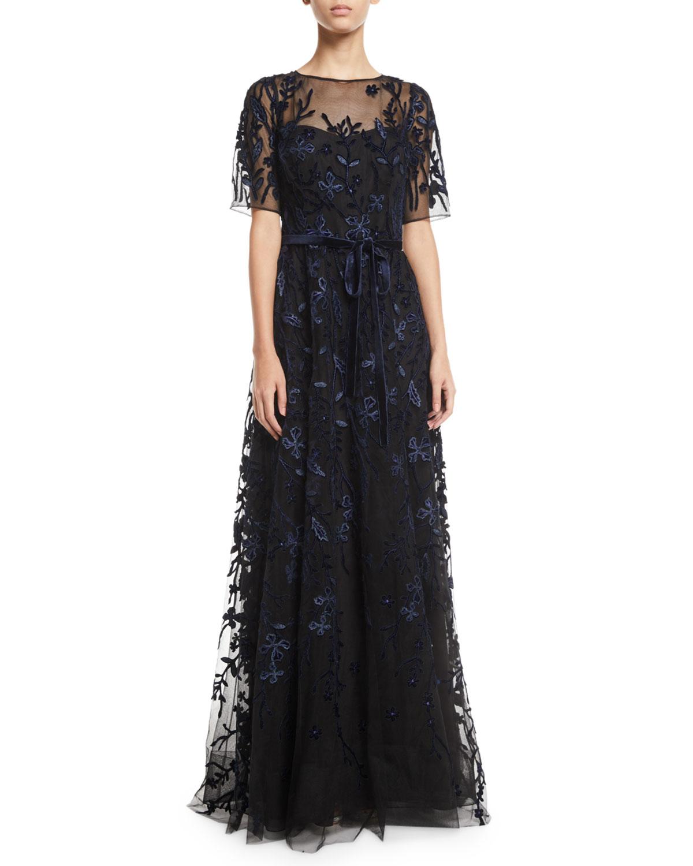 74af799dc78 Rickie Freeman for Teri Jon Lace   Velvet Floral A-line Gown ...
