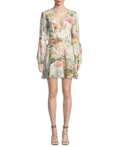 Heathers Floral-Print Linen Long-Sleeve Mini Dress