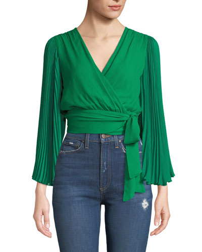 Bray Pleated-Sleeve Wrap Top