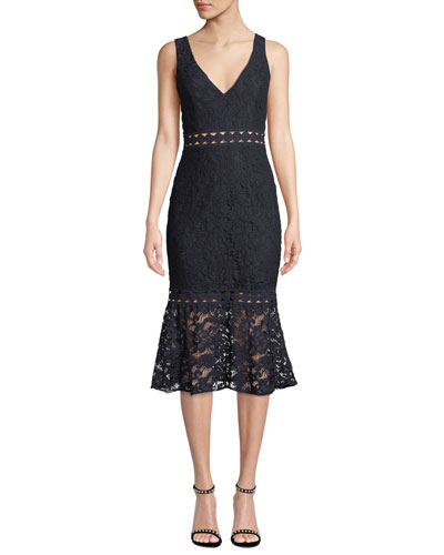 Fiona V-Neck Sleeveless Trumpet Lace Dress
