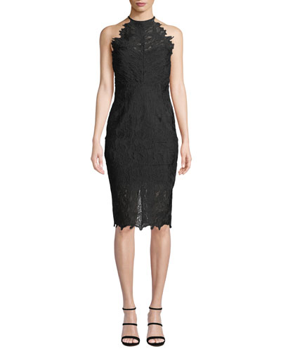 Halter Sleeveless Lace Cocktail Dress