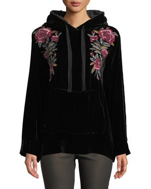 44a1393badb75 Johnny Was Petite Marmont Velvet Hoodie w  Floral Embroidery