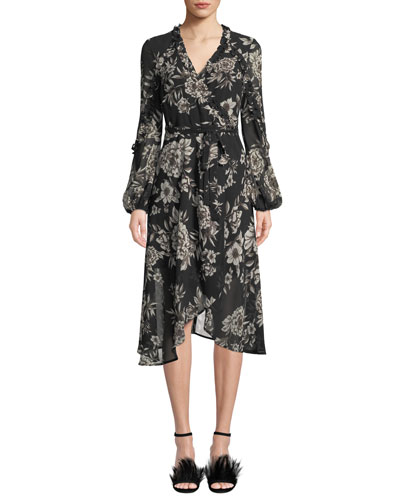 Blouson-Sleeve Floral-Print Faux-Wrap Dress