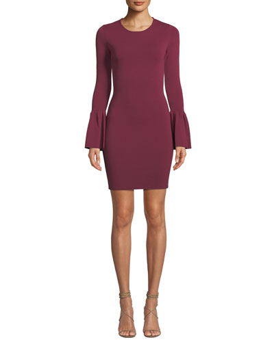 Arabella Bell-Sleeve Body-Con Short Dress