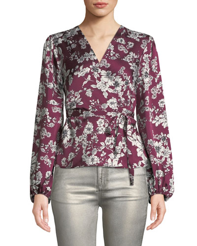 Jolie Floral Satin Wrap Top