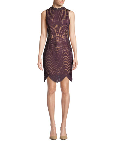 Alice Lace Scalloped Sleeveless Cocktail Dress