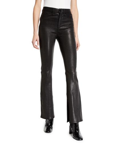 Bella High-Rise Boot-Cut Leather Pants