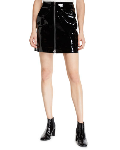 Heidi Patent Leather Zip Front Mini Skirt