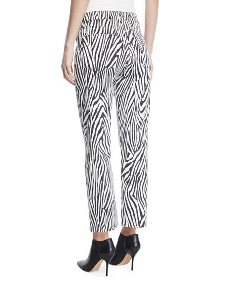 FRAME Le High Straight Zebra-Print Ankle Jeans