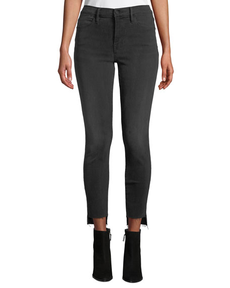 FRAME Le High Skinny Ankle Jeans with Raw