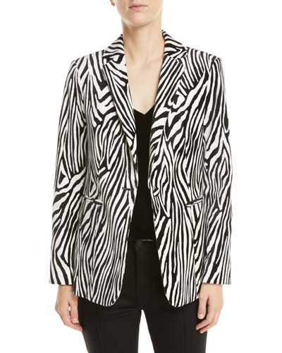 Zebra-Print Single-Button Blazer