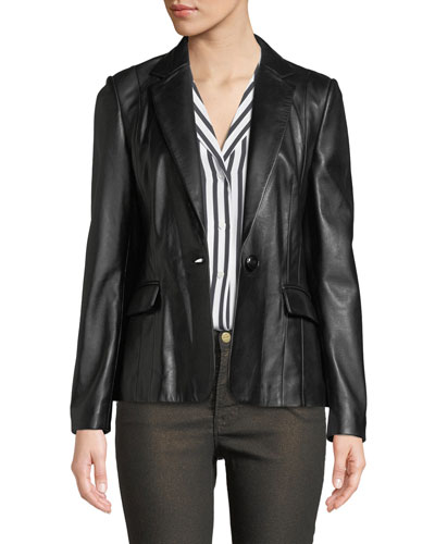 Schoolboy Single-Button Leather Blazer