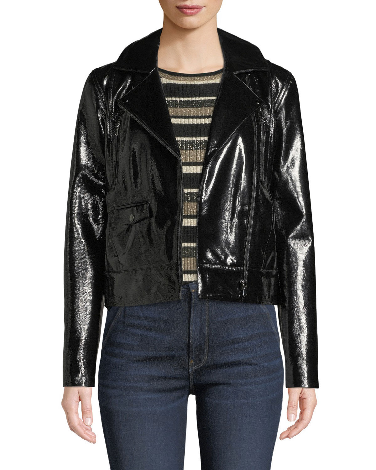 FRAME Slick Cropped Leather Moto Jacket | Neiman Marcus