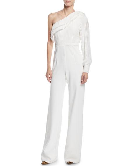 AIJEK Isis Asymmetric Toga Jumpsuit in White
