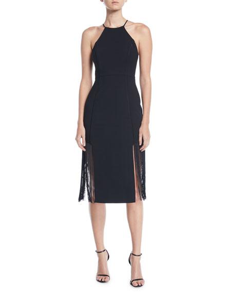 AIJEK Arman Embroidered Toga Dress in Black