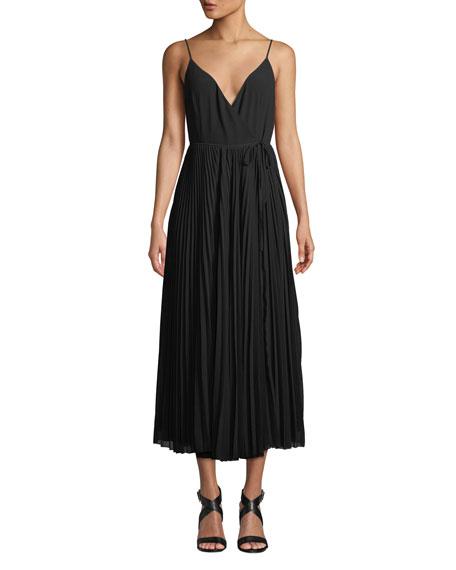 Aijek Vida Pleated Wrap Maxi Dress