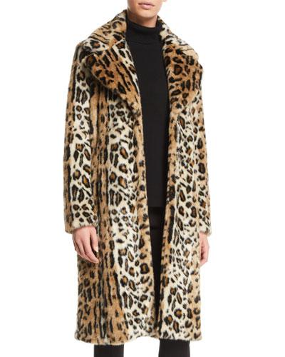 Leopard-Print Faux-Fur Long Coat