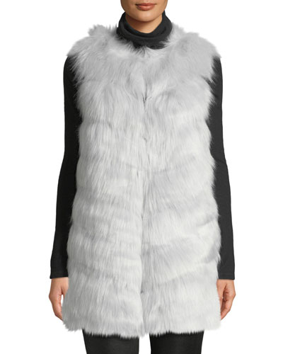 Grooved Faux-Fur Vest