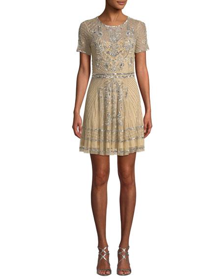 Parker Black Daisy Embellished Mini Dress