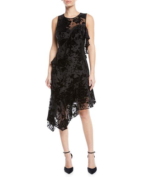 Parker Black ZURICH ASYMMETRIC VELVET FLOWER COCKTAIL DRESS