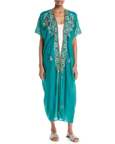 Genesis Paisley-Embroidered Long Kimono Caftan