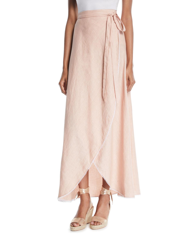 Miguelina Ballerina Long Linen Wrap Skirt  21165c28e385
