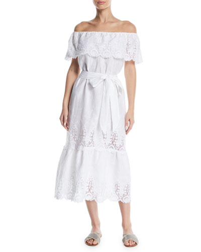Lisselle Off-the-Shoulder Embroidered Cotton Midi Dress