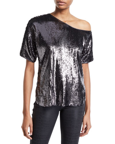 Scotty Sequined One-Shoulder Top