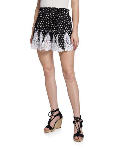 Liana High-Waist Polka-Dot Cotton Shorts w/ Lace