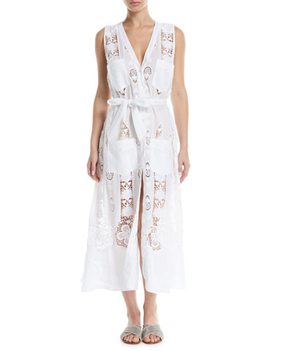 Alexia Button-Front Sleeveless Lace Embroidered Cotton Coverup Dress