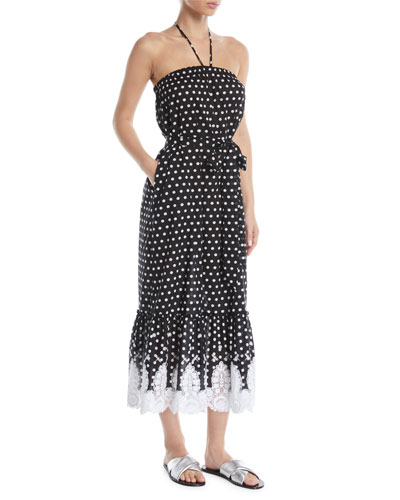 Emery Strapless Polka-Dot Midi Dress w/ Lace Hem
